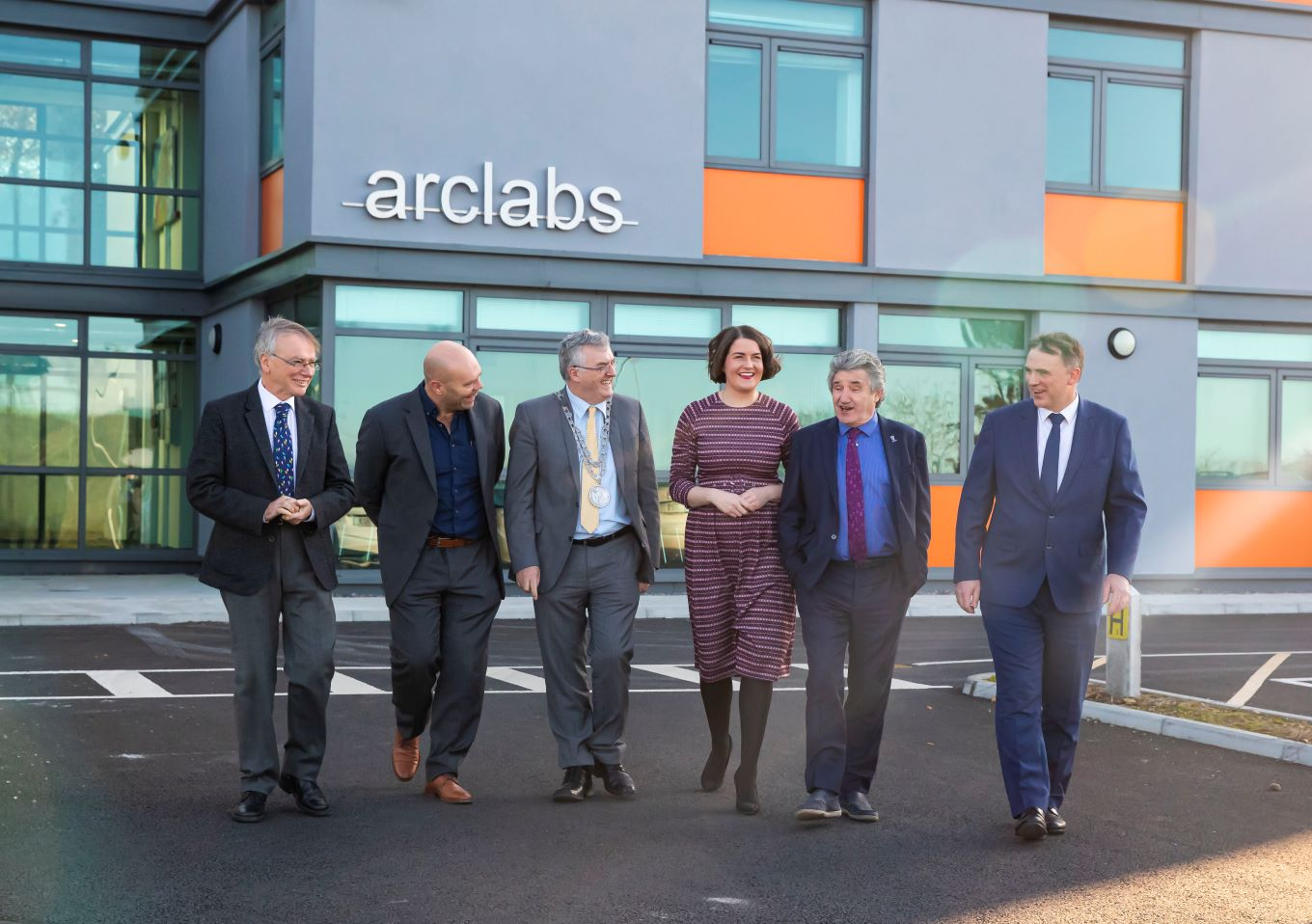Caption Pictured at the opening of the ArcLabs extended facility, November 2019, Prof Willie Donnelly, Dr Mark White, Cllr John Pratt, Dr Aisling O'Neill, John Halligan, T.D. and Martin Corkery