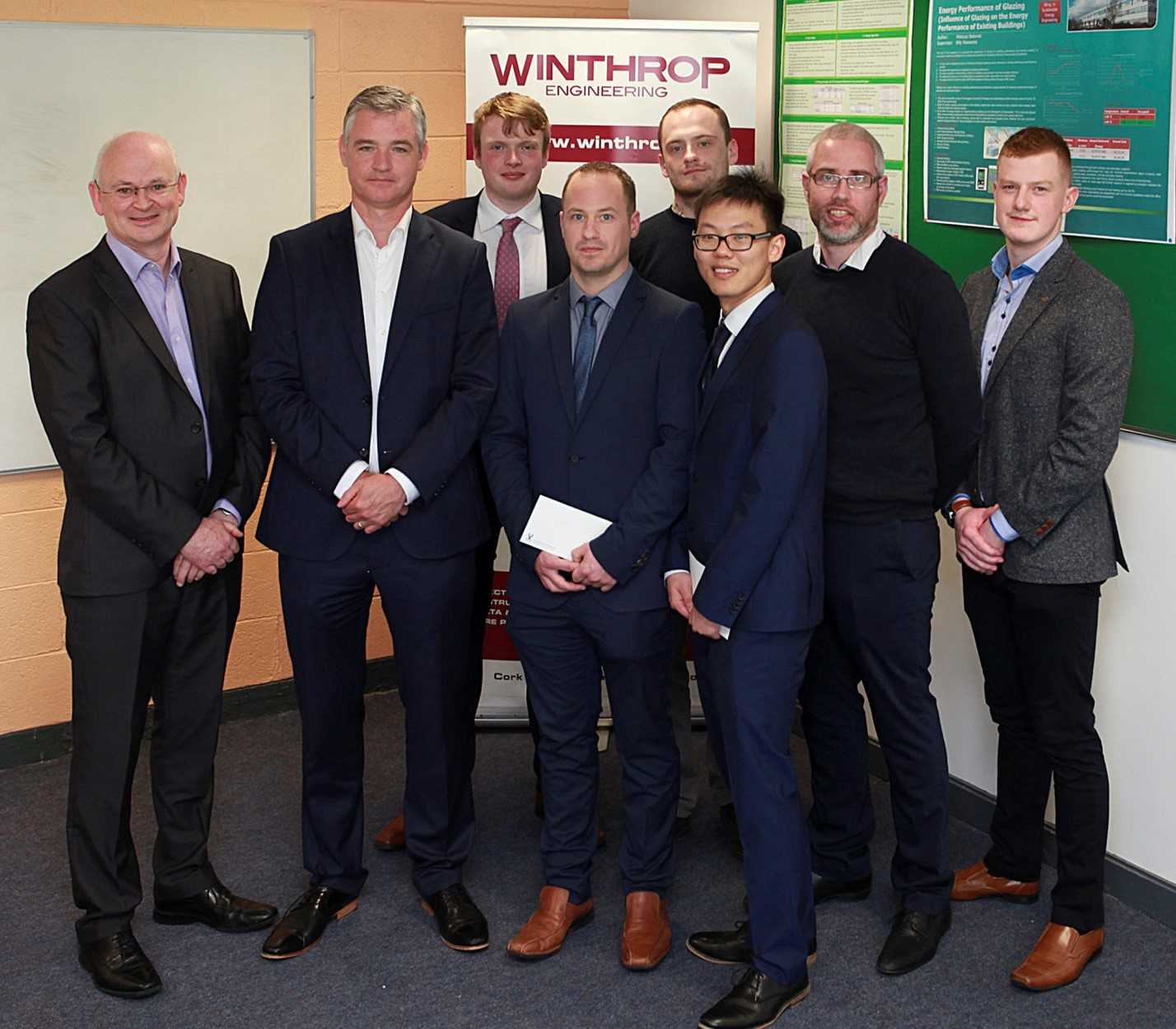 Winthrop and WIT representatives along with winner Danny Dowd, runner up Wei Xing Lee and other final year Sustainable Energy Engineering students