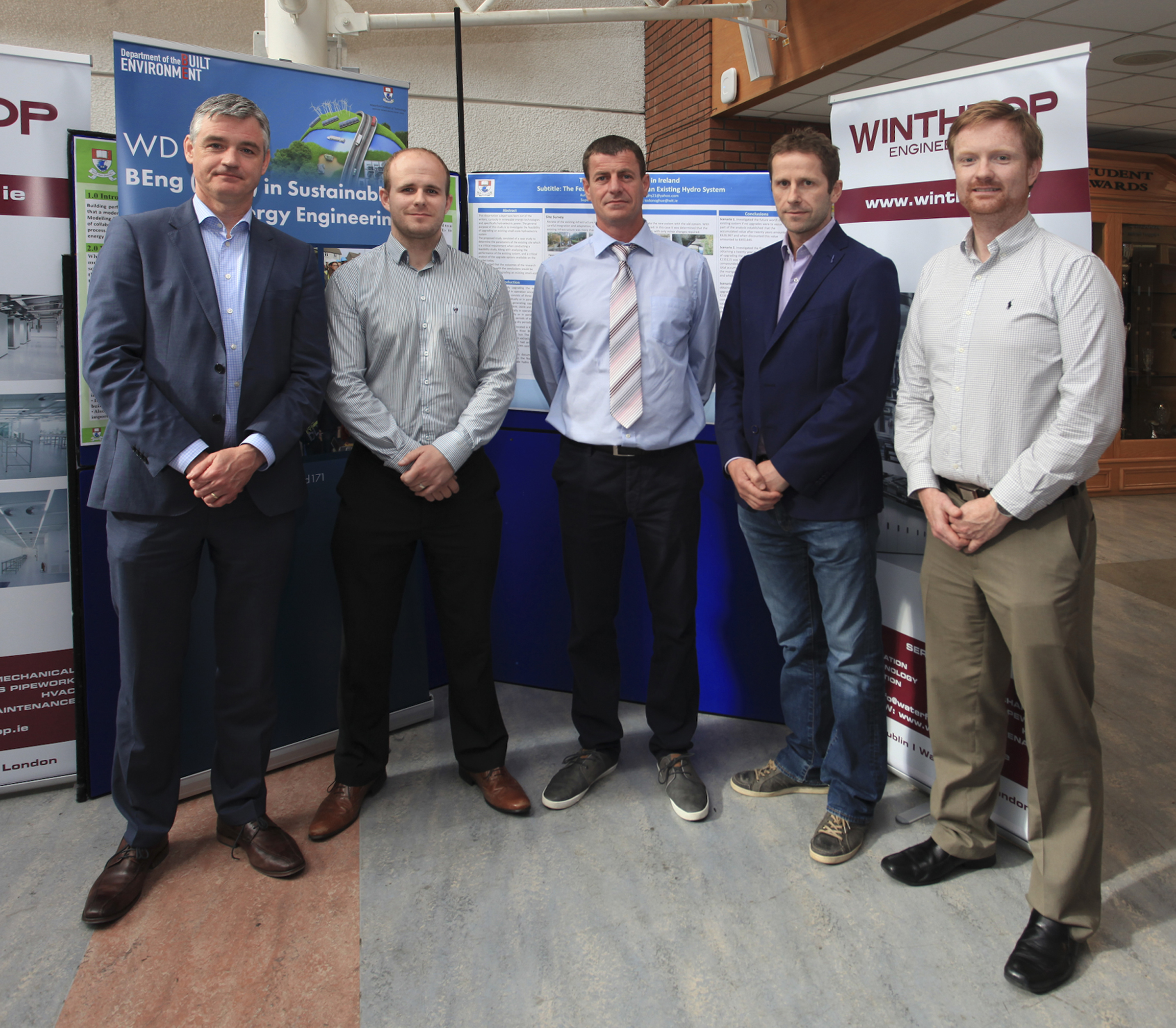 Ger O'Leary, Managing Director of Winthrop Engineering Waterford, sponsor of Sustainable Energy Engineering Awards 2016 at WIT; Gary Widger, Project Manager at Winthrop Waterford, Stuart Murphy, Tramore 1st place winner of Winthrop Sustainable Energy Awards at WIT; Colm Tynan, Lecturer in Sustainable Energy at WIT; Derek Sinnott, Head of the Department of the Built Environment at WIT.