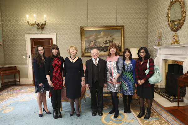 Annabel Higgins, IRCSET PhD Scholar, Deptartment of Science, Dr Lorna Doyle, lecturer in Health Sports and Exercise Science, Sabina Higgins, and President of Ireland, Michael D Higgins, Dr Orla O'Donovan, Head of Department of Science, Dr Helen Hughes, lecturer in Department of Science, Mangolika Bhattacharya, WIT PhD scholar, Department of Engineering, WIT. Photograph: Maxwells Photography.
