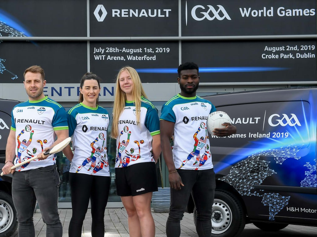 World GAA Games Player Ambassadors Noel Connors, Waterford Hurler, Lyndsey Davey, Dublin Footballer, Niamh Murphy, Waterford Camogie, Boidu Sayeh, Westmeath Footballer
