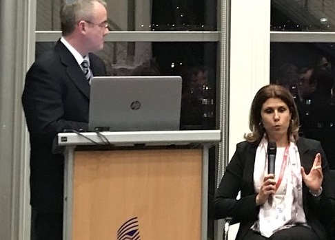 L-R: James Clarke (TSSG) and Maria Palombini at ICT 2018, Vienna