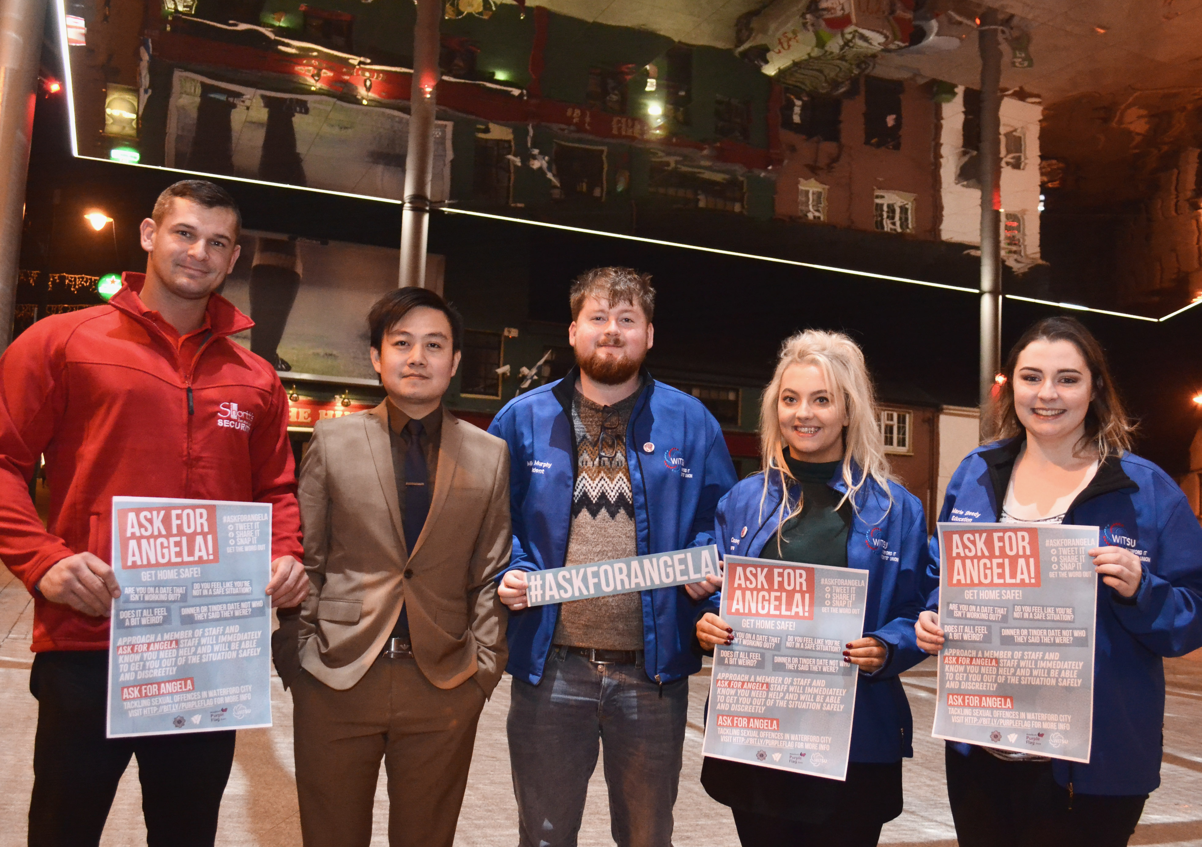 Purple Flag Waterford partnering with WIT Students Union and working with local venues launched an 'Ask For Angela' campaign