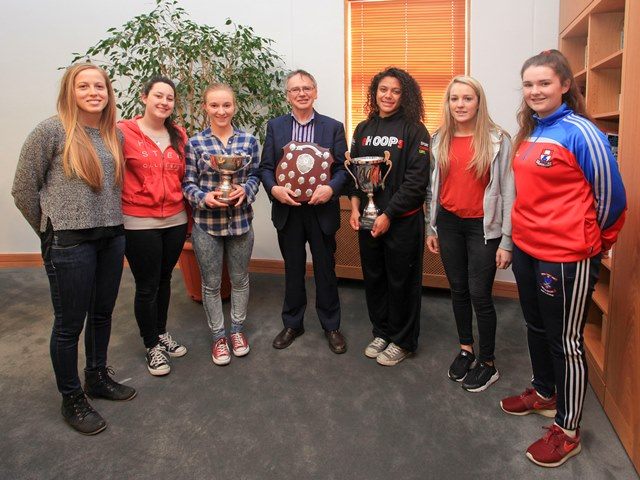 Katie Fox; Chloe Morrissey; Claire Manning; Professor Willie Donnelly President of Waterford Institute of Technology; Jazmen Boone; Jane Crowley; Ciara Twomey. Photo: George Goulding
