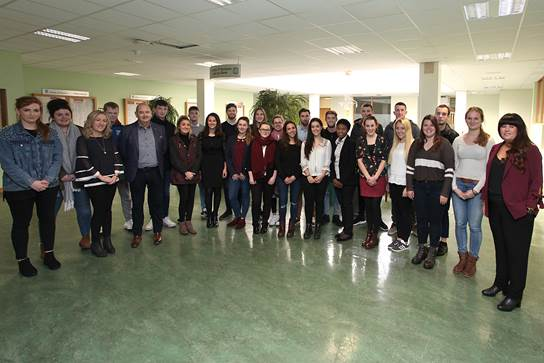 Pictured with the BBS  (Hons) Marketing students in WIT on Monday December 4th at the company presentations are  Mr. Greg Pheasey, Dr Ethel Claffey (Lecturer in Marketing), and Ms Jennifer Mullally (Lecturer in Accounting).