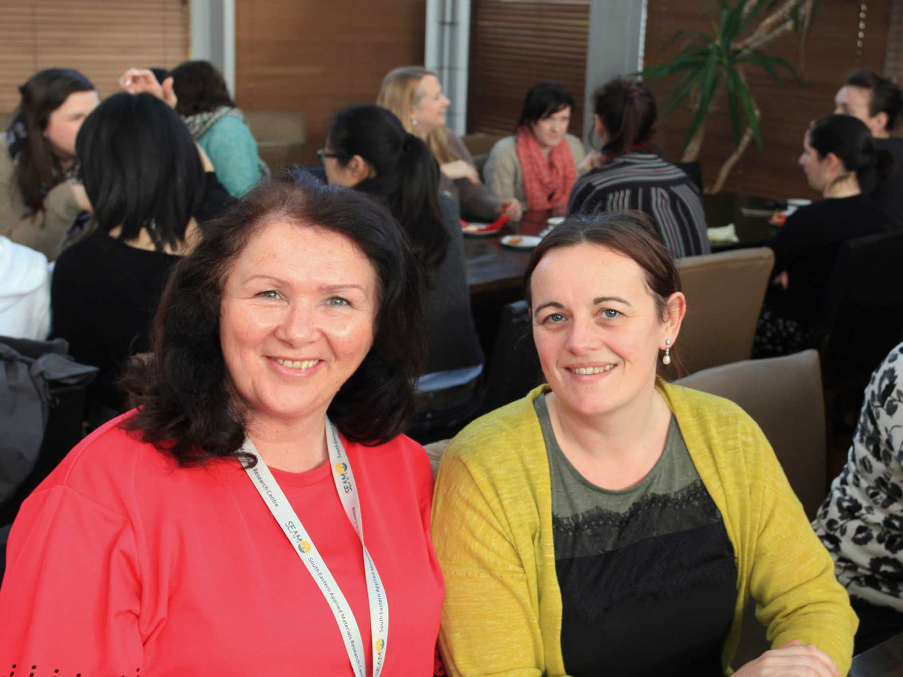 School of Engineering staff Eimear Kirwan and Vivenne Evans at the ladies coffee morning