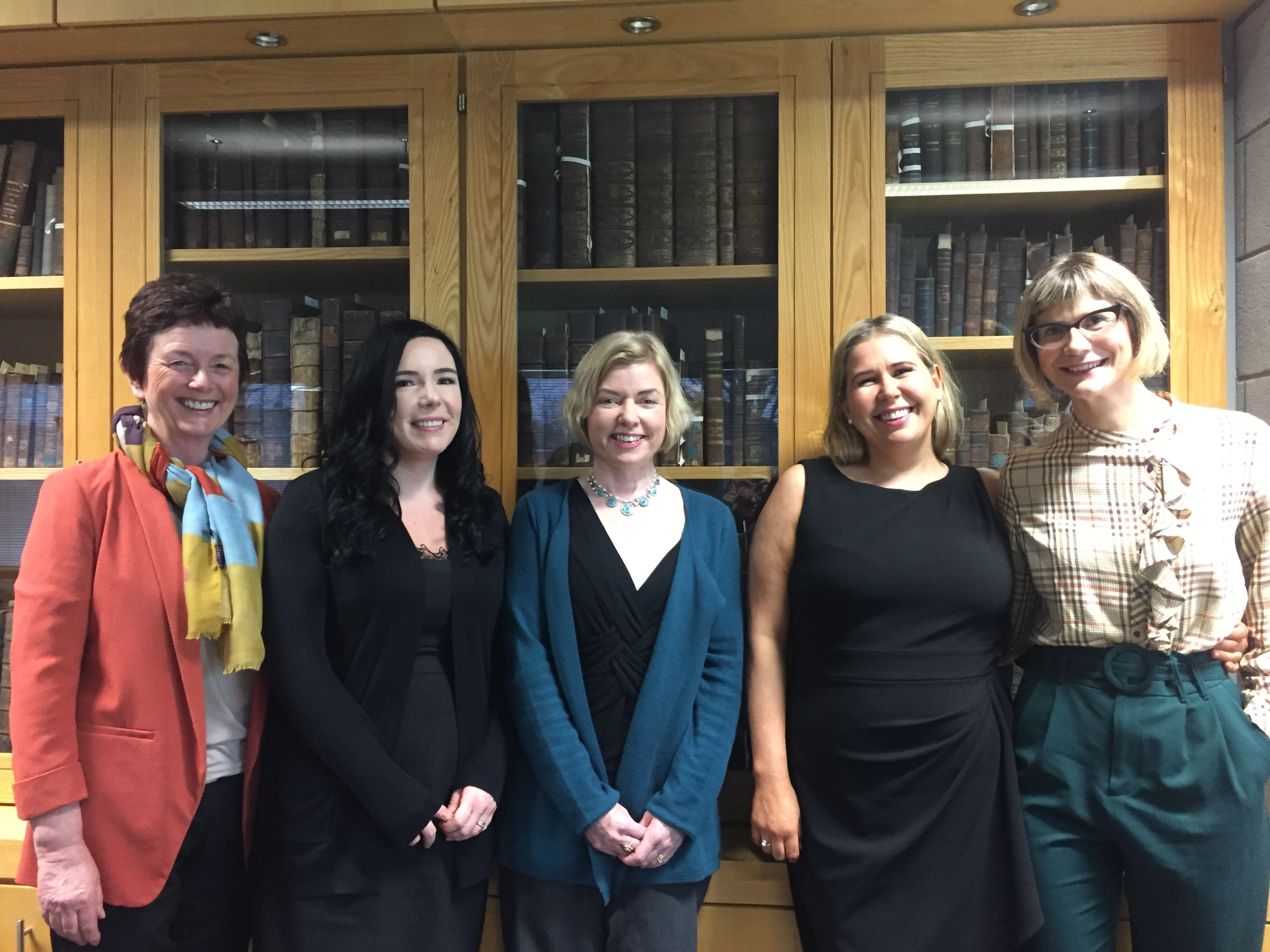 Lecturers in English at WIT, Margaret O'Brien, Dr. Fiona Ennis, Dr. Christa de Brún and Dr. Jenny O'Connor with Windham-Campbell prize winning author Danielle McLaughlin (centre).