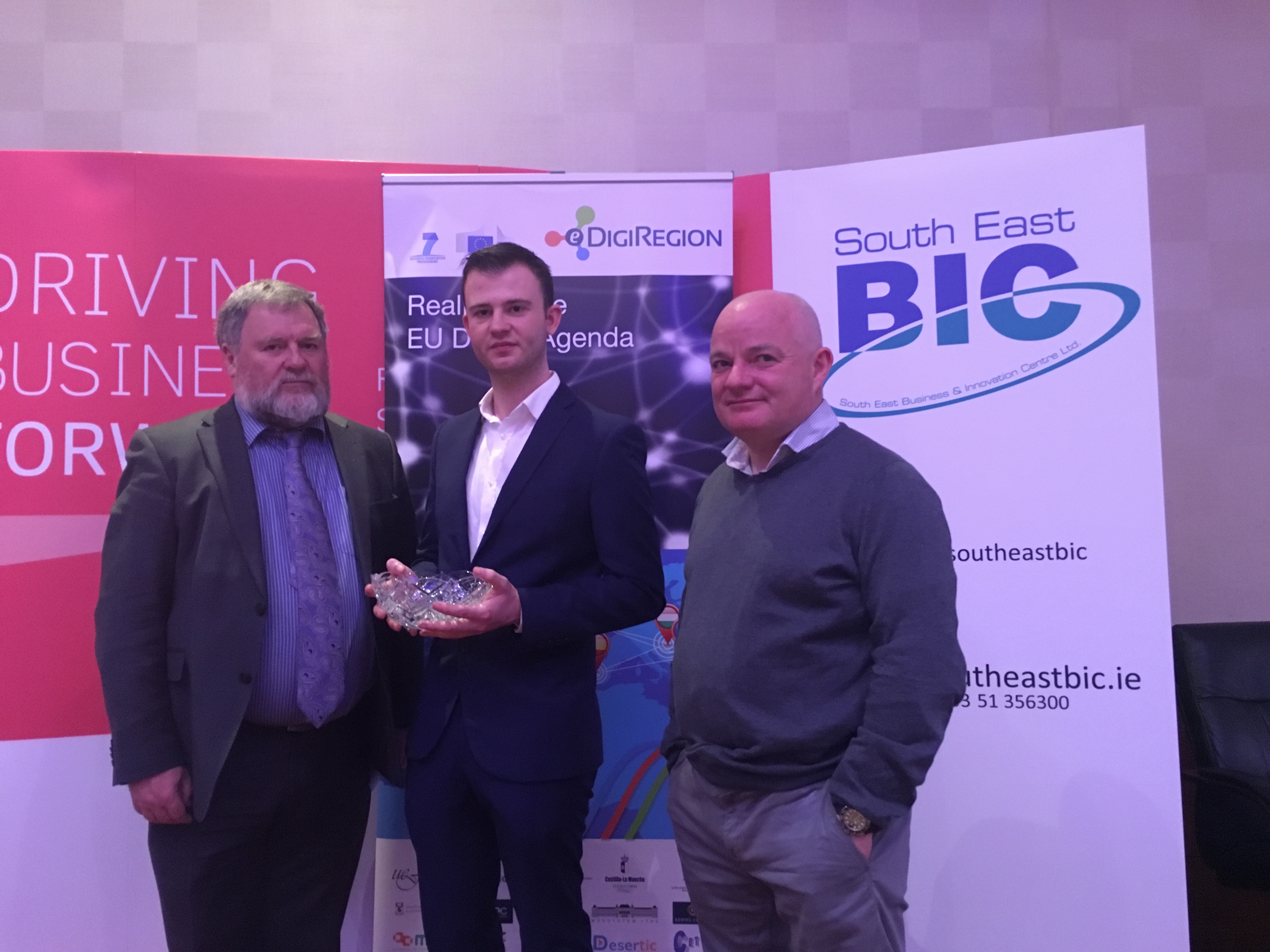 Pictured from left to right is WIT's Professor Bill O'Gorman, Daniel Thewlis, and Niall Olden of Kernel Capital.