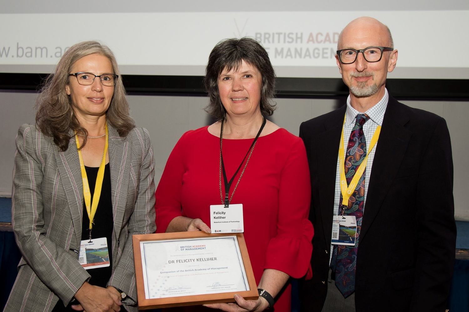 L to R: Prof Katy Mason, BAM Chair; Dr Felicity Kelliher, Prof Nic Beech, BAM President at the BAM Companion Award Presentation, Aston University Birmingham September 2019