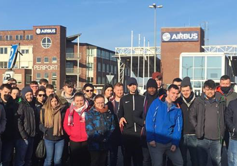 WIT students Engineering Society trip to Airbus in Hamburg Germany, February 2018