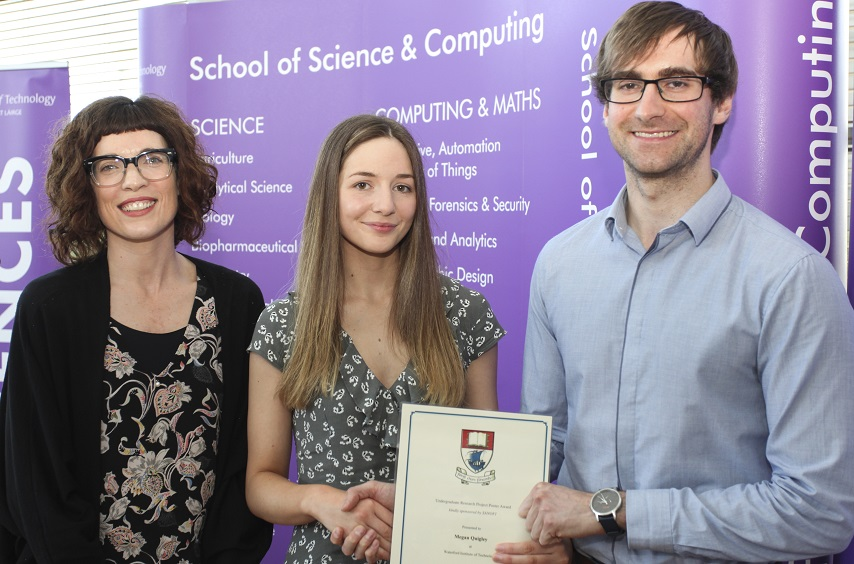 Dr Claire Lennon, WIT; Megan Quigley one of the winners of the Best Research Poster and Pitch; Brian Rellis from Sanofi.