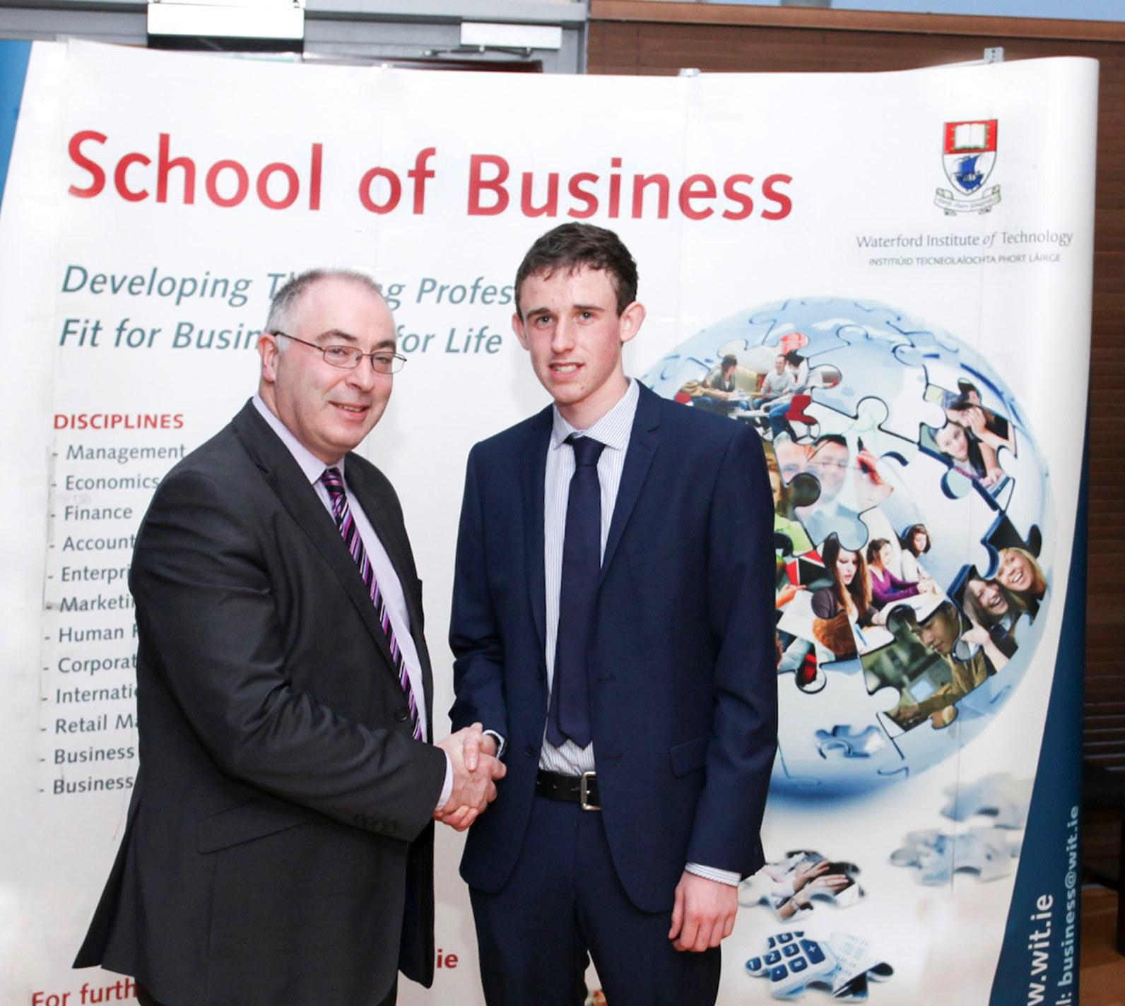 Martin Freyne, Partner at PriceWaterhouseCoopers with Scholarship winner Morgan Carty from Foulksmills, Co. Wexford