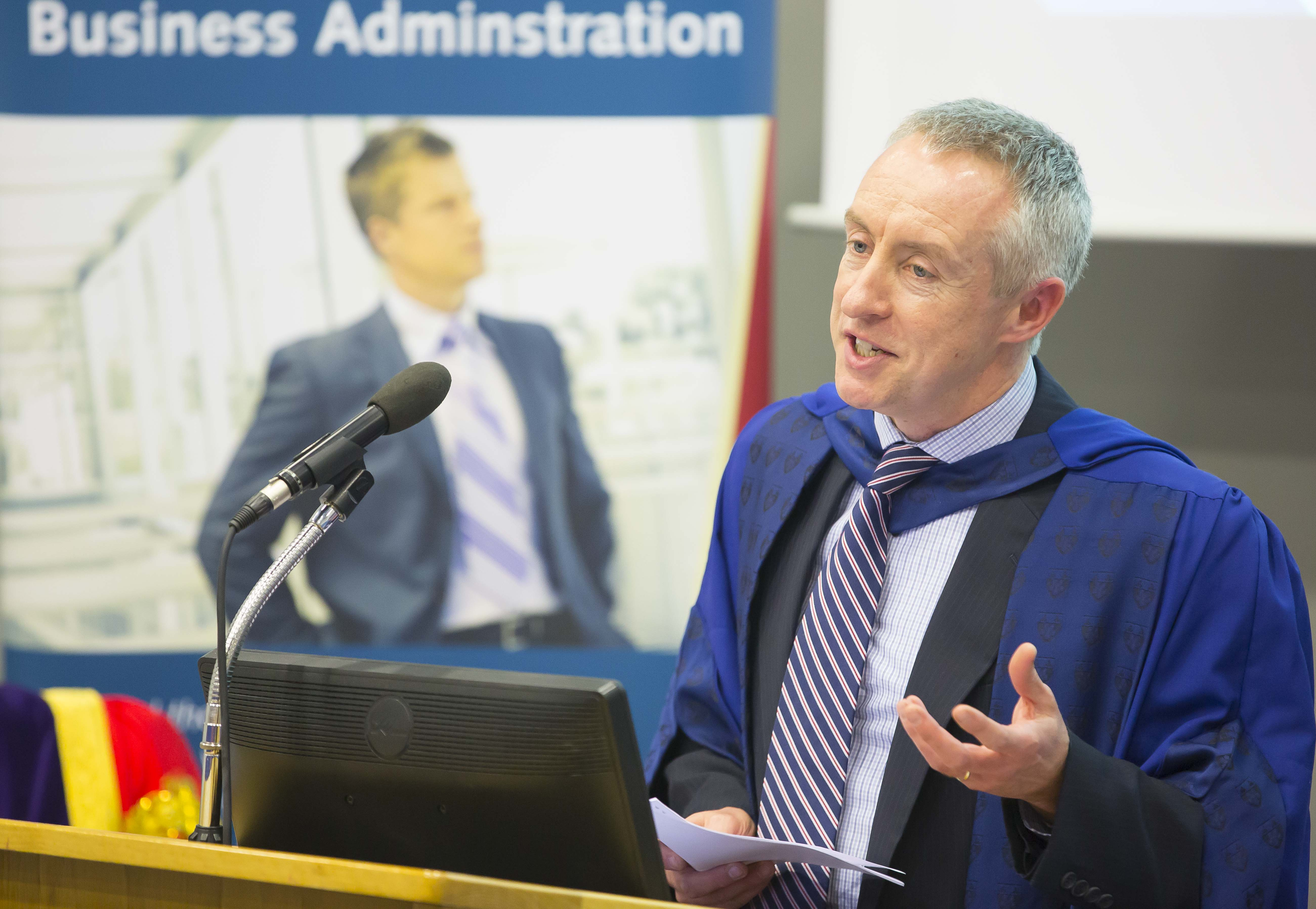 Prof Harrington, Head of Postgraduate Business, speaking at the inaugural Professorial Public Lecture Series