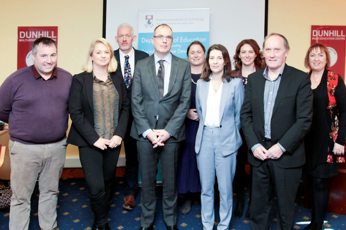 Photo (L-R): John Evoy, Social Innovation Fund; Tammy Darcy, Shona Project; Dr Richard Hayes, Vice-President of Strategy, WIT; Richard Gavin, Department of Rural and Community Development; Dr Mary Fenton, WIT; Laura Dennehy, Enactus Ireland; Dr Judith Breen, WIT; Dr Senan Cooke, Dunhill Multi-Education Centre; Joan Mangan, WIT