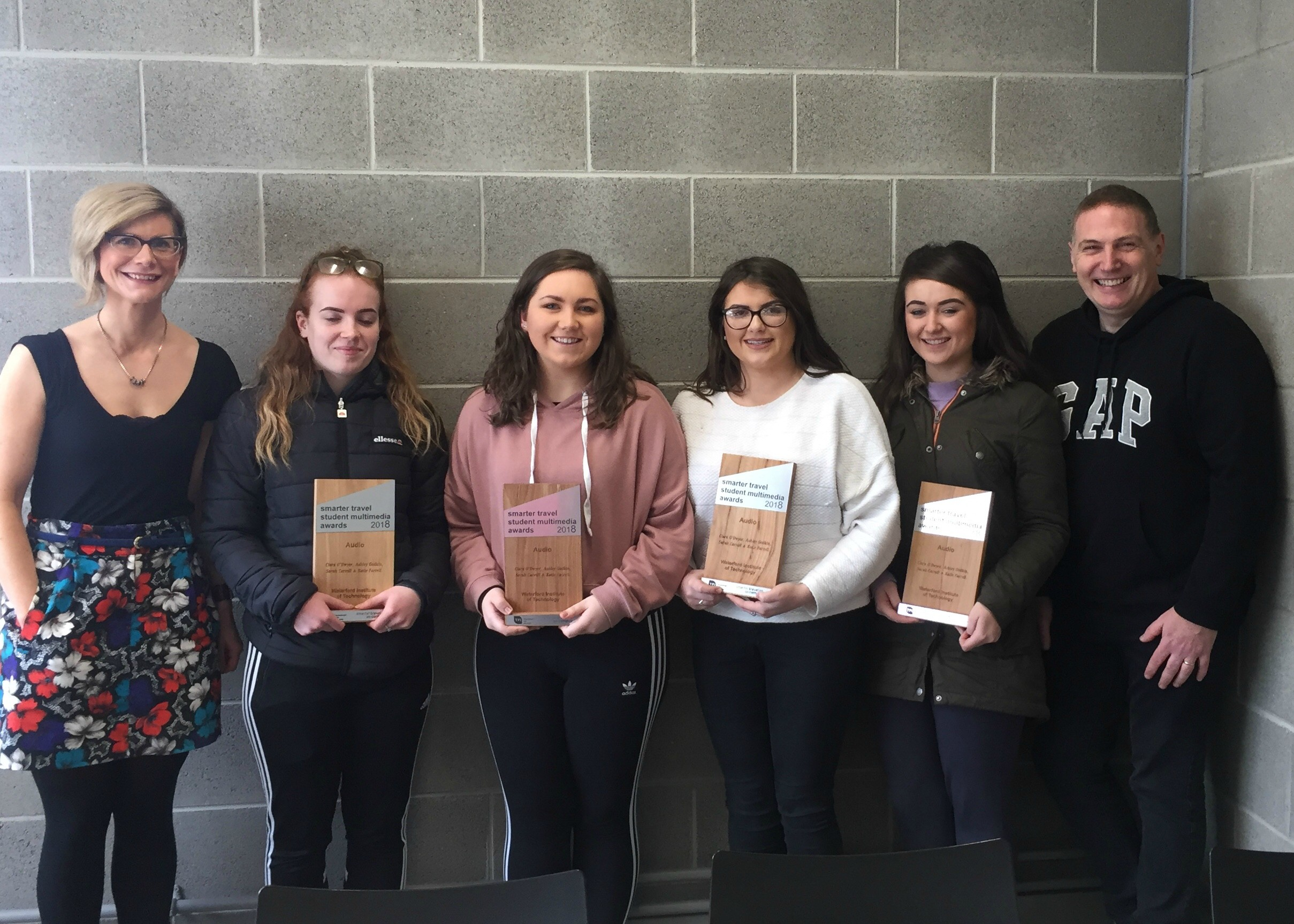 Pictured are the award winning WIT students with Health Promotion Lecturer Dr. Jenny O'Connor and Entertainment Systems Lecturer Mr. Colm Dunphy