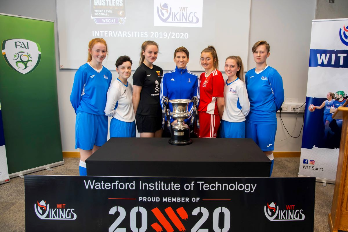 Special guest Michelle O'Neill pictured with players from WIT, CIT & UCC on the launch of the WSCAI Women's Soccer inter varsities which will be held in WIT on 24th & 25th of March 2020.