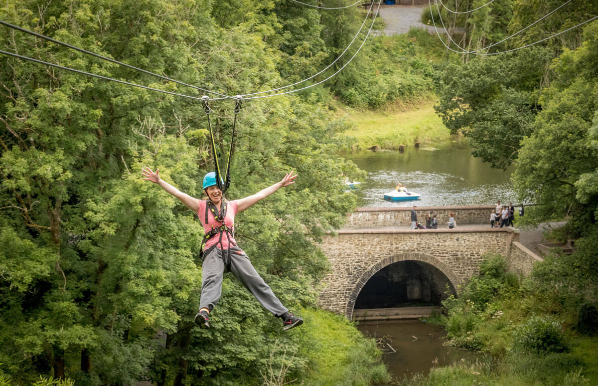 Castlecomer Discovery Park in Kilkenny is home to Ireland's longest zip line (300 metres long and 35 metres over the ground at its highest point). After completing the Octagon High Ropes Course, students then zipped over the stunning woodland, two lakes and 17th-century hand-restored bridge.
