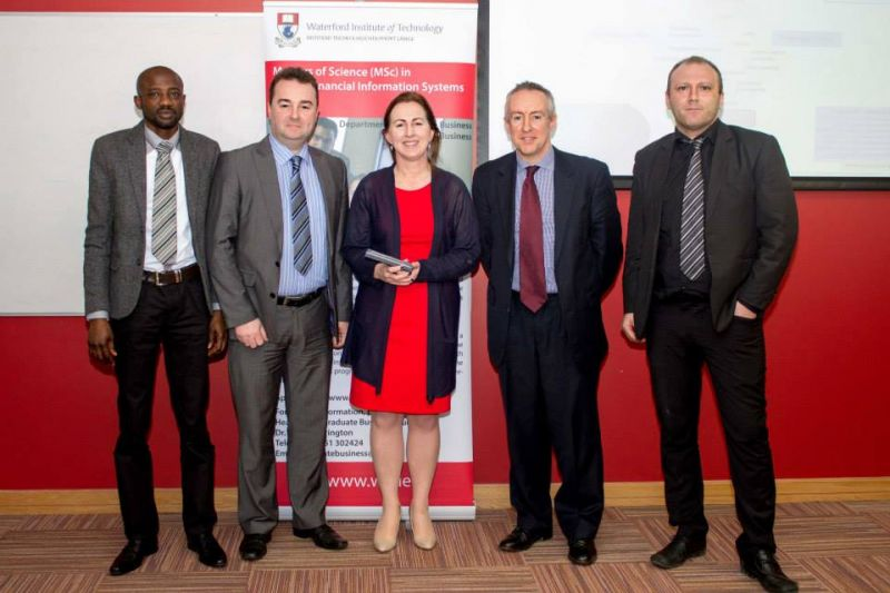 Ms Rose Clear BOI Dr Aidan Duane and students from the MSc in GFIS